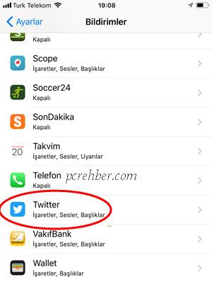iphone twitter bildirimleri kapatmak