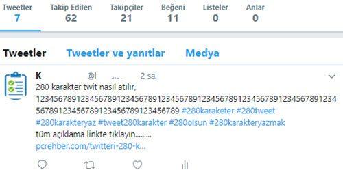 ornek 280 karakter twit