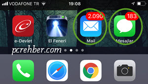 iphone ekranda mesaj ve mail sayısı