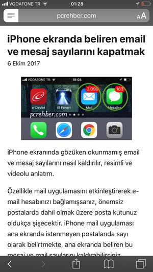iphone okuyucu modu nasıl etkinleştirilir