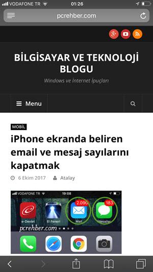 iphone safari tarayıcı