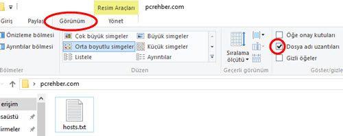 windows dosya uzantılarını göstermek
