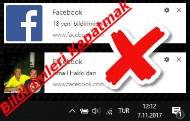 Facebook bildirim kapatmak