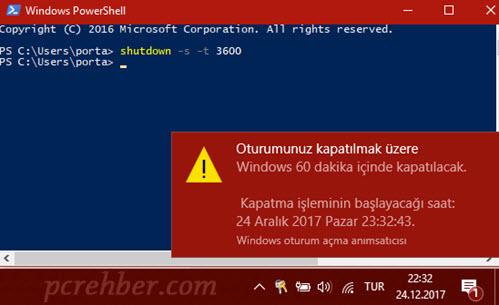 windows zaman ayarlı kapatmak