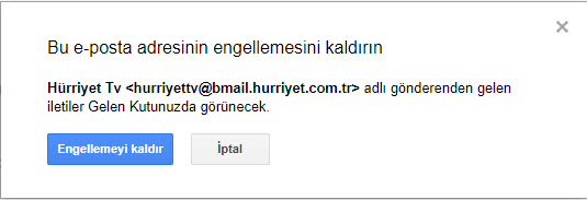 gmail engel kaldır