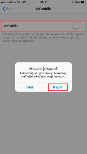 messenger online gizleme