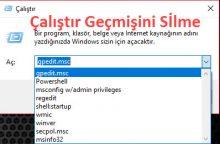 Windows 10 Çalıştır Geçmişini Silme
