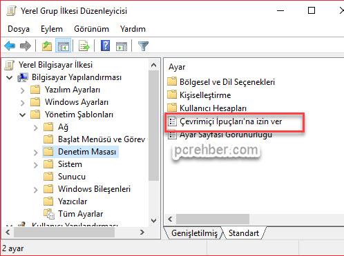 windows 10 ipuçları kaldırma