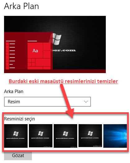 windows 10 masaüstü resim listesini silme