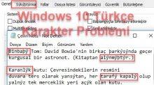 Windows 10 Türkçe Karakter Sorunu