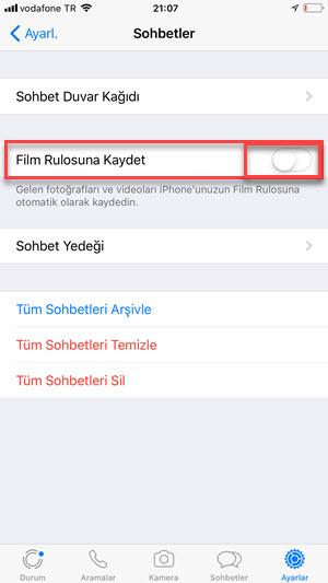 Whatsapp otomatik fotoğraf kaydetme kapatma
