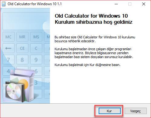 windows 10 eski hesap makinesi