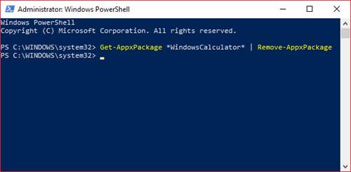 windows 10 hesap makinesi kaldırma