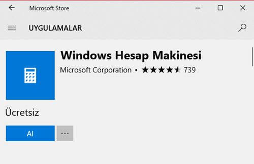 windows 10 hesap makinesi yeniden kurma
