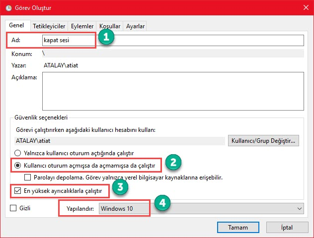 windows 10 kapanış sesi