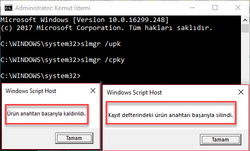 windows 10 ürün anahtarı silme