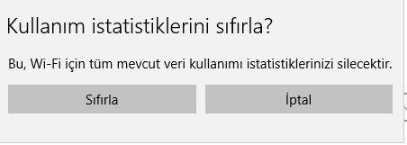 windows 10 veri kullanımı sıfırlama