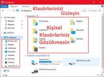 Windows 10 Kullanıcı Klasörlerini Gizleme