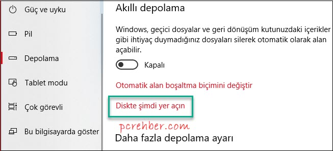 windows 10 boş alan açma