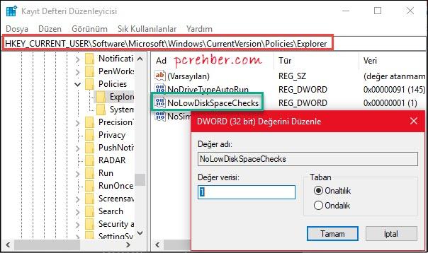 yetersiz disk alanı uyarısı kapatma