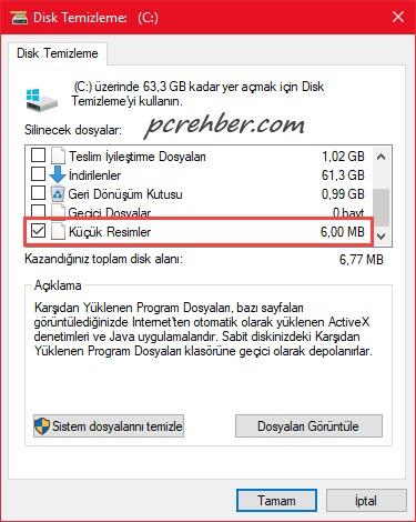 windows 10 disk temizleme