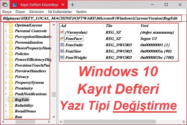 kayıt defteri yazı tipini değiştirme