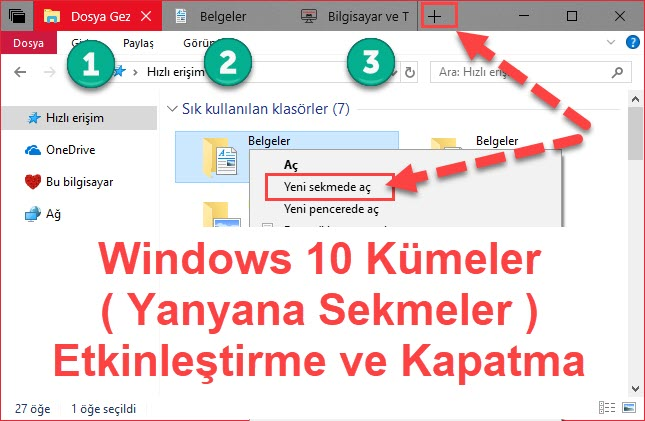 windows 10 kümeler açma kapatma