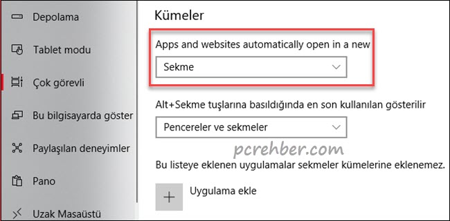 windows 10 kümeler açma kapatma
