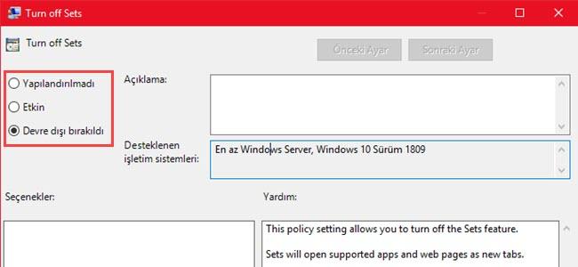 windows 10 kümeler kapatma