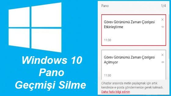 windows 10 pano geçmişi temizleme