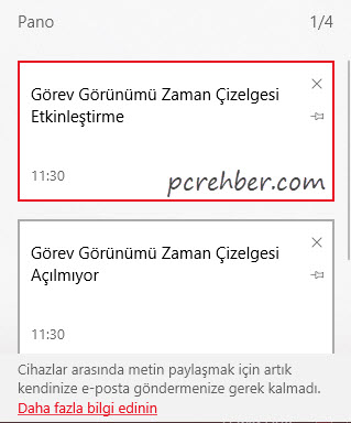 windows 10 pano kullanımı