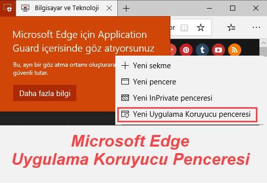 microsoft edge uygulama koruyucu penceresi