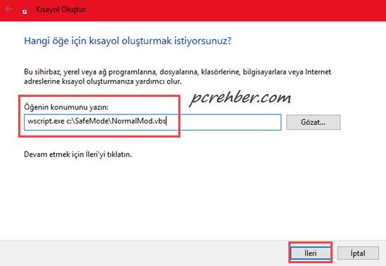 Windows 10 normal mod kısayolu