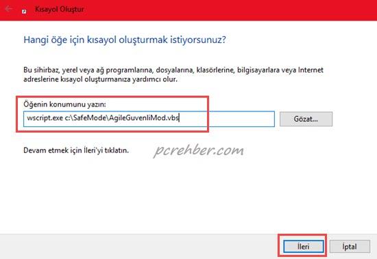 Windows 10 ağ ile güvenli mod kısayolu