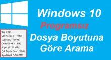 Windows 10 Dosya Boyutuna Göre Arama
