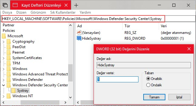 windows defender ikonu kaldırma