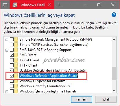 windows özelliklerini aç veya kapat