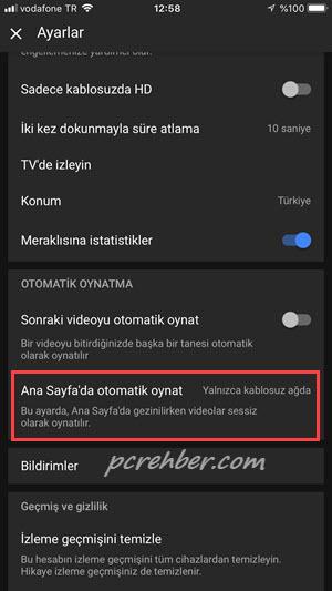 youtube anasayfada otomatik video oynatma kapatma