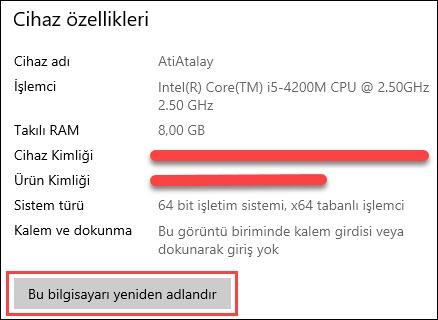 bilgisayar adı değiştirme windows 10