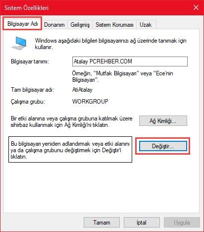 bilgisayar adını değiştirme
