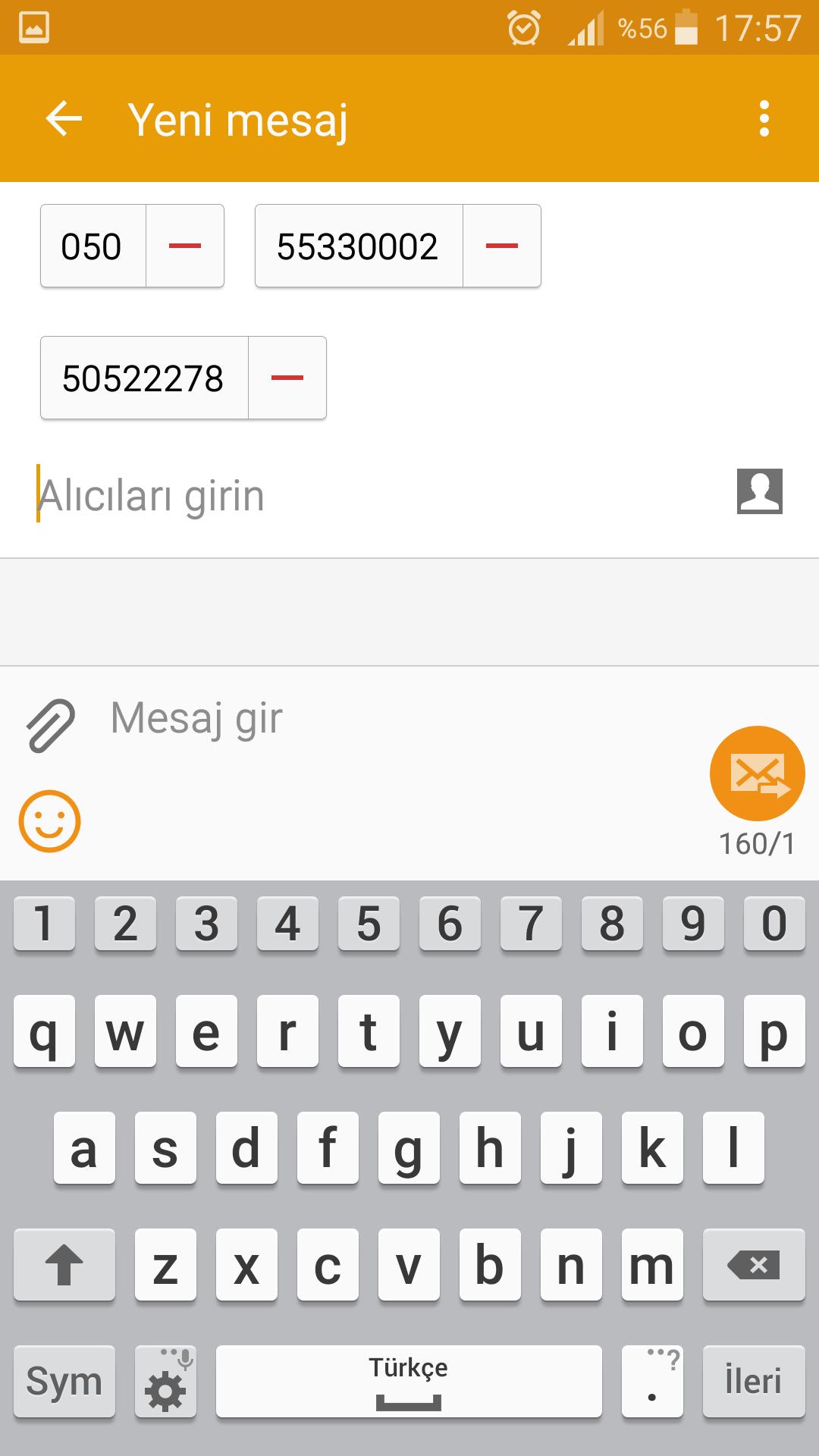 Samsung telefonda toplu mesaj gönderme