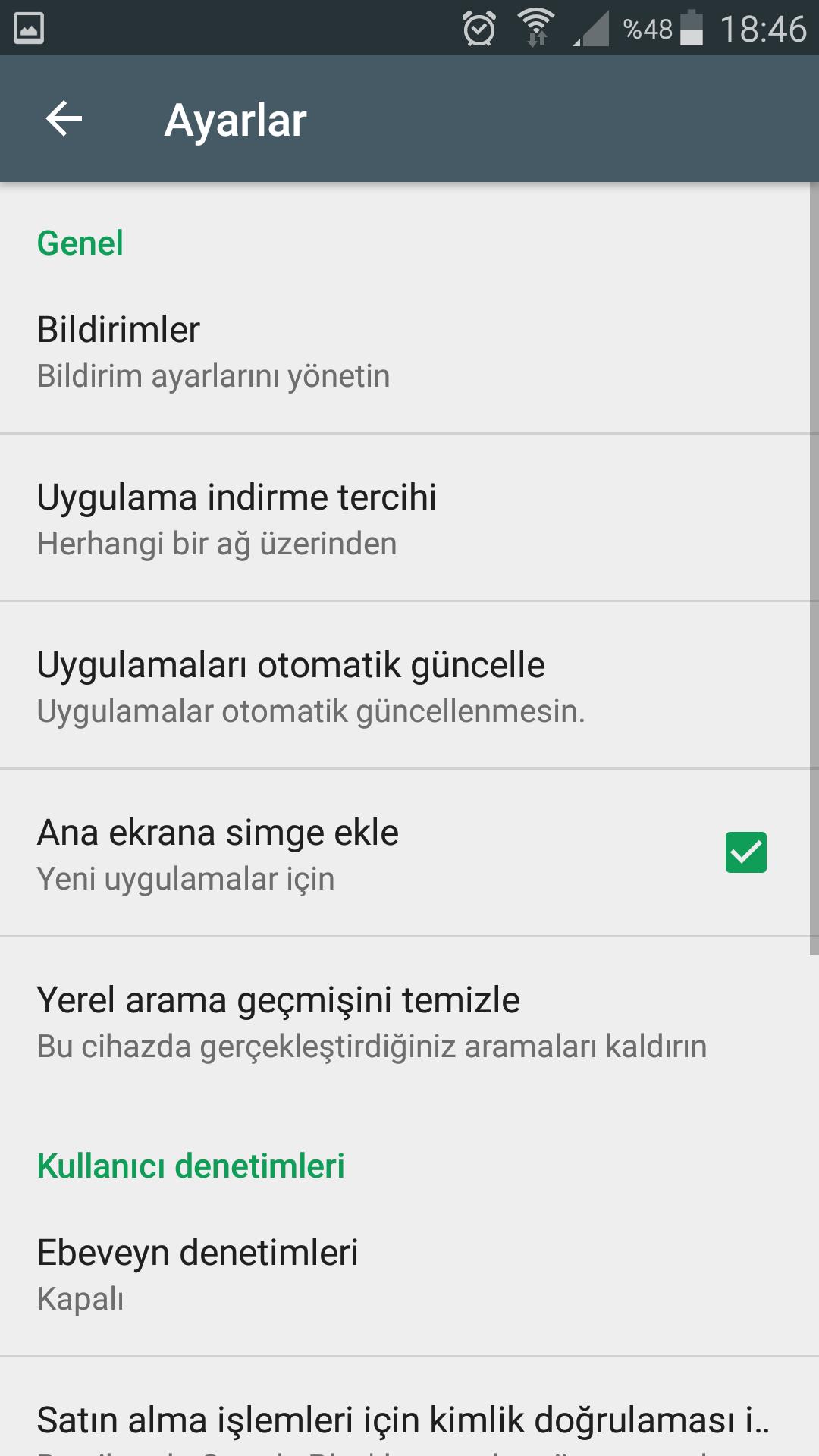 Google Play güncelleme bildirimi kapatma