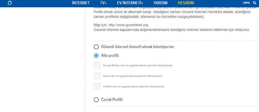 Güvenli internet nasıl iptal edilir