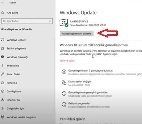 Windows'u güncellemek