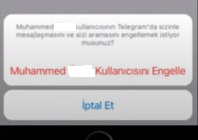 Telegram engel kaldırma