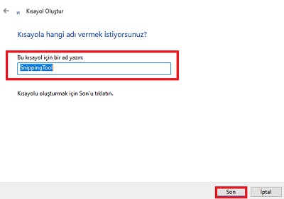 Windows 10 da ekran alıntısı kısayolu oluşturma