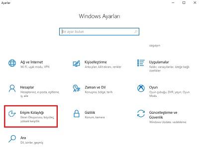 Windows 10 yapışkan tuşlar kapatma